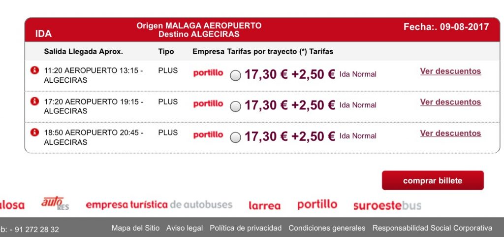 Malaga to Algeciras Summer Bus Timetable